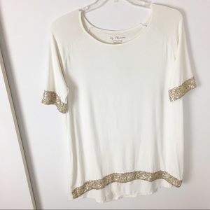 Chico's Cream Short -Sleeve Top With Sequins 2